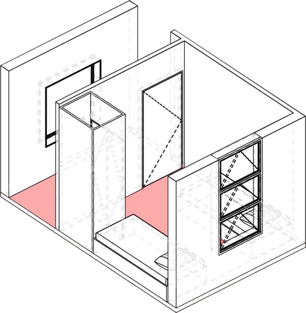 Axonometric projection of small-bedroom module.